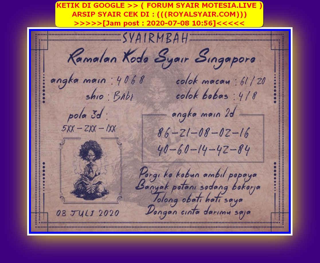 Kode syair Singapore Rabu 8 Juli 2020 124