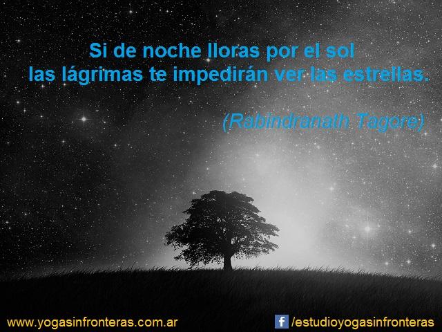 Si de noche lloras por el sol las lágrimas te impedirán ver las estrellas.