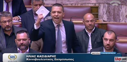 Κασιδιάρης προς βουλευτές του ΣΥΡΙΖΑ: «Έχετε γίνει πόρνες των νταβατζήδων και των ξένων τοκογλύφων» (ΒΙΝΤΕΟ)