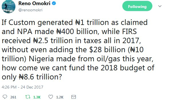 Nigeria Made ₦10 trillion Profit In 2017 And Want To Borrow To Fund ₦8.6 trillion 2018 Budget?
