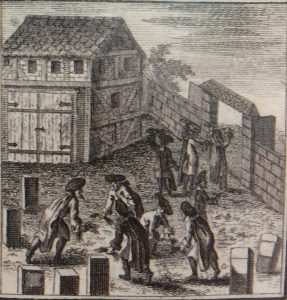 "Johann Bodenschatz's engraving of G.P. Nusbiegel ""Kirchliche Verfassung"" (Frankfurt and Leipzig, 1749): Men plucking grass in the cemetery and throwing it behind their backs."