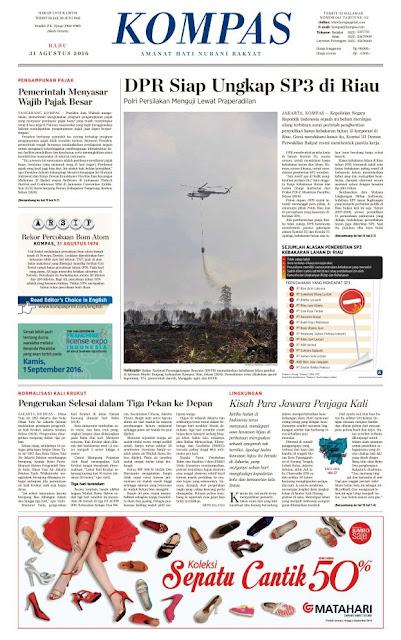 Kompas Edisi Rabu 31 Agustus 2016