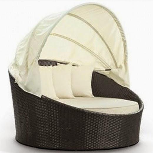 LexMod Siesta Outdoor Rattan Canopy Bed