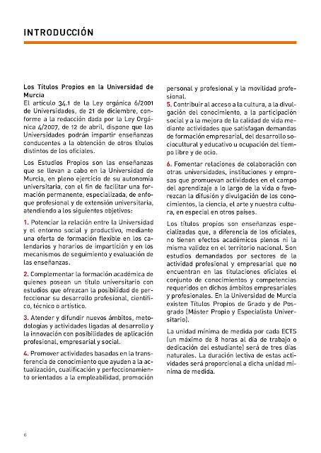 Estudios Propios de Posgrado en la UMU.