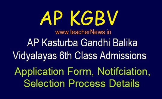 AP KGBV 6th Class Admission Notification 2019 | Online Apply for Kasturba Girls Schools