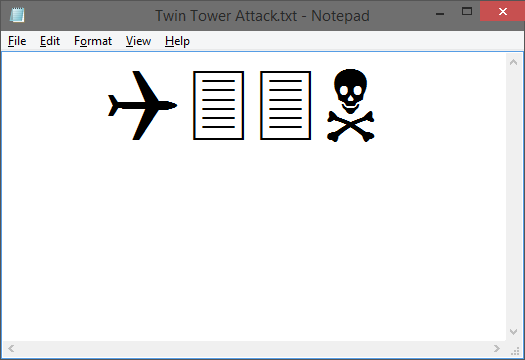 World Trade Center Attack by Notepad