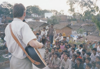 I'm playing the guitar, singing Sunday school songs  for kids in Vidisha (close to Bhopal)