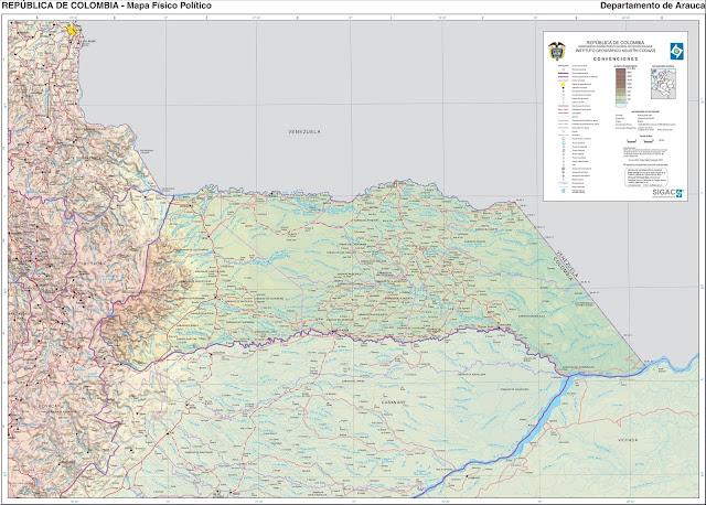 Mapa da Colômbia - Departamento de Arauca