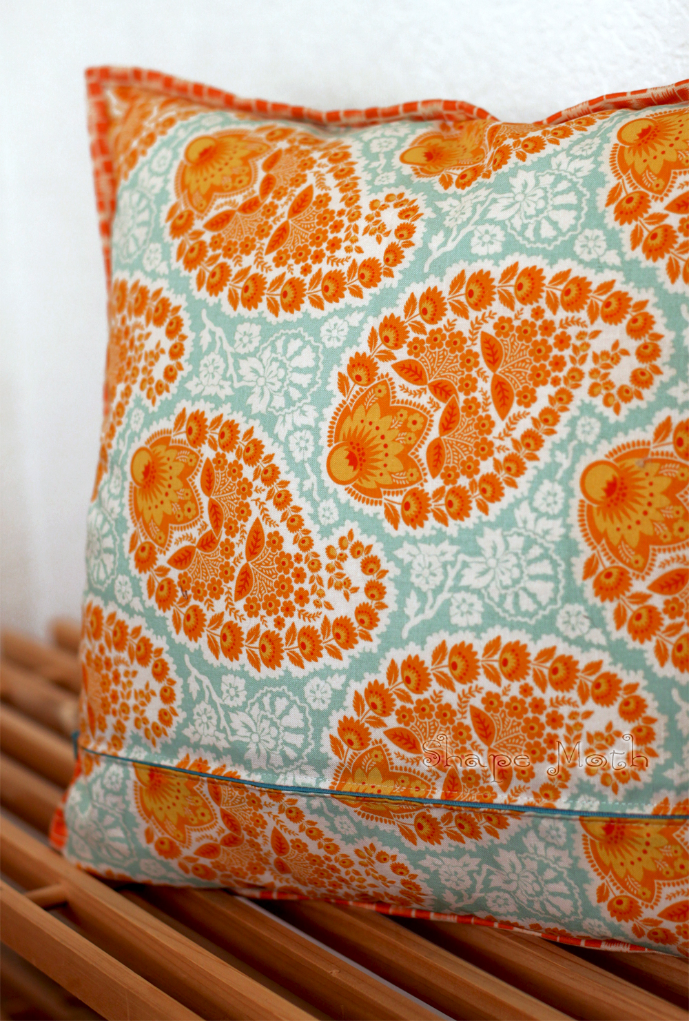 Shape Moth Snow Cristal Aqua Tangerine Pillow