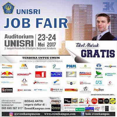 Bursa Kerja Unisri Job Fair Tanggal 23-24 Mei 2017 (Gratis)