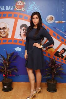Actress Mannara Chopra Stills in Blue Short Dress at Rogue Song Launch at Radio City 91.1 FM  0078.jpg