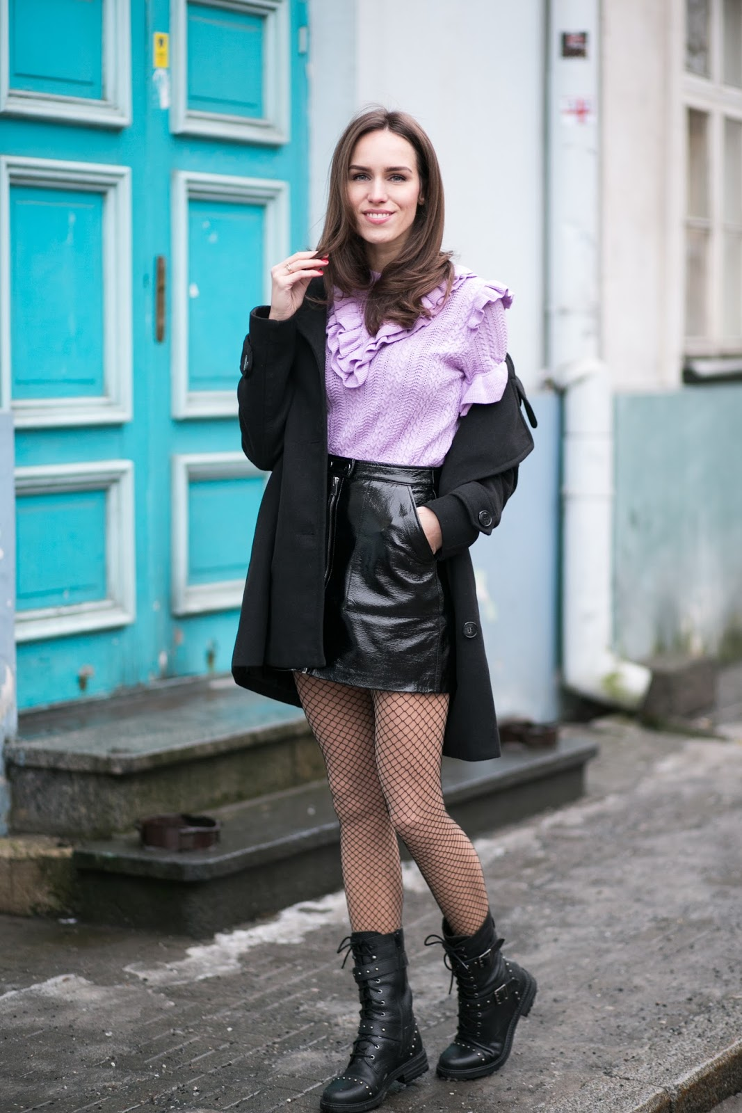 patent mini skirt winter outfit