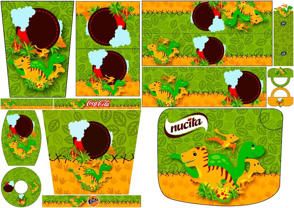 Fiesta de Dinosaurios: Etiquetas para Candy Bar de Cumpleaños para Imprimir Gratis.