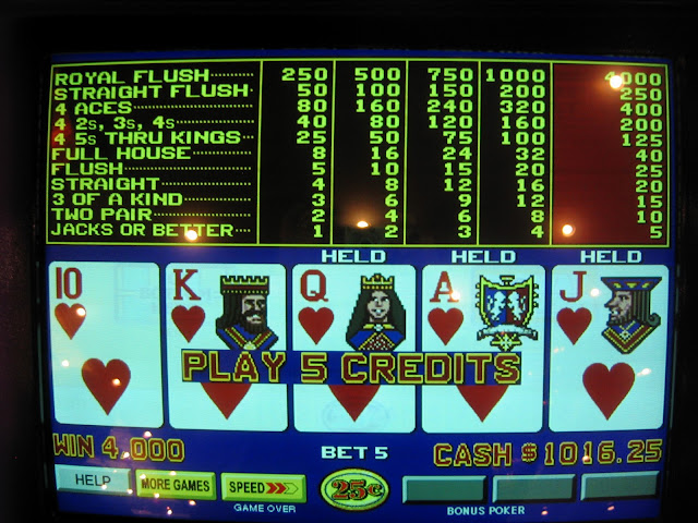 Royal Flush in Hearts at the Golden Nugget.