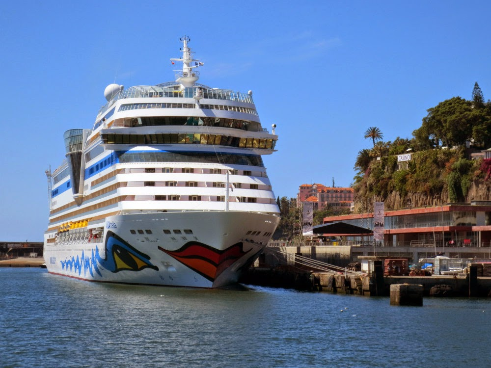 AIDAstella in Funchal port, one of the most popular in the world