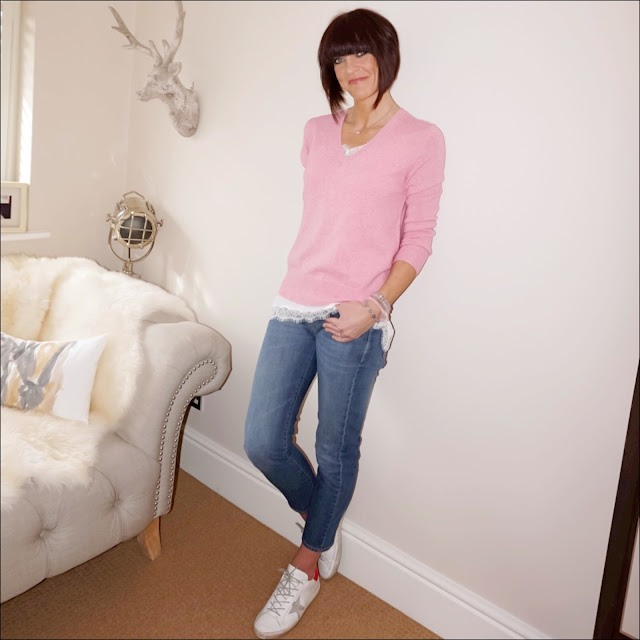 my midlife fashion, baukjen the boyfriend jeans, marks and spencer pure cashmere v neck jumper, the white company silk lace trim cami, golden goose superstar leather low top trainers