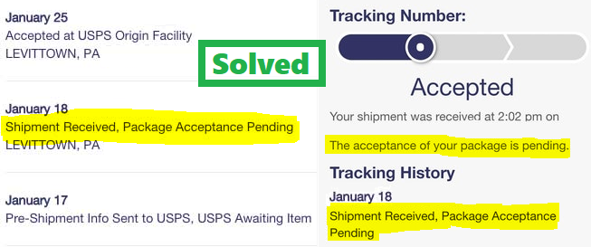 Usps Shipment Received Package Acceptance Pending For Days Fix