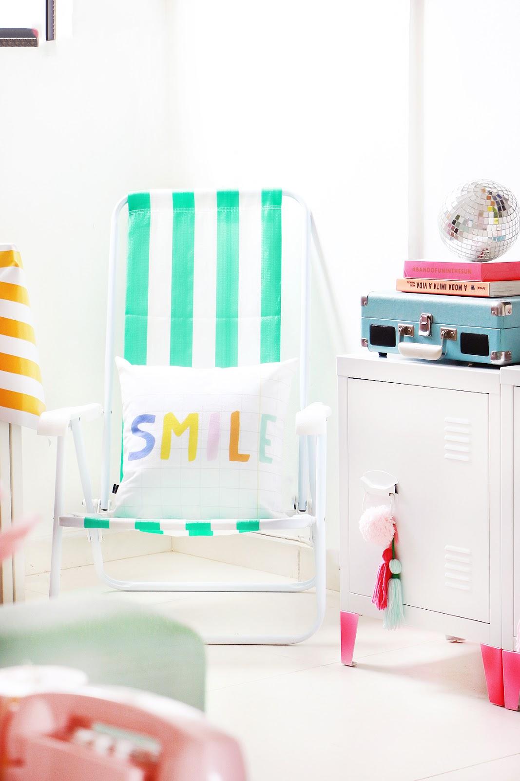 cadeira de praia na decoração de casa