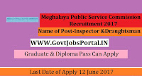 Meghalaya Public Service Commission Recruitment 2017– 59 Inspector, Draughtsman
