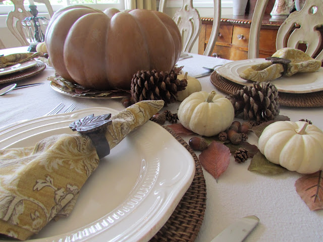 traditional fall tablescape with fairytale pumpkin and natural accents