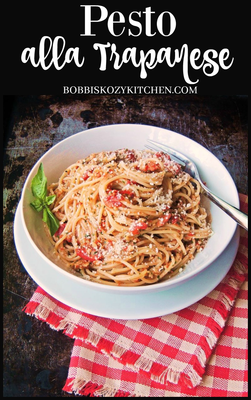 Pesto alla Trapanese - With ripe grape tomatoes that are bursting with flavor, fresh basil, and ground almonds to add body to the sauce, this is the ultimate fresh tasting pasta! From www.bobbiskozykitchen.com