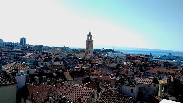 hôtel, Cornaro, toits, vieille ville, croatie, split
