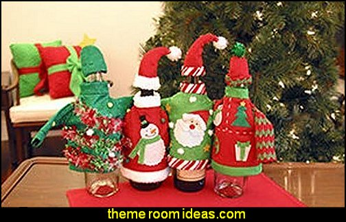 Christmas Party Ugly Sweater Wine Bottle Covers  ugly sweaters - Christmas ugly sweaters  - decorate yourself - womens ugly sweaters - ugly mens sweaters - embellished ugly sweaters - fun sweaters - novelty sweaters - Christmas party sweaters - quirky party sweaters - Christmas party hats - peppermint candy cane Leggings - ugly sweater party decorations