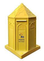 İçine mektup atılan sarı renkli PTT posta kutusu