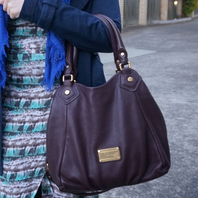 printed wrap dress, Marc By Marc Jacobs Classic Q Fran bag with gold hardware in carob brown | AwayFromTheBlue