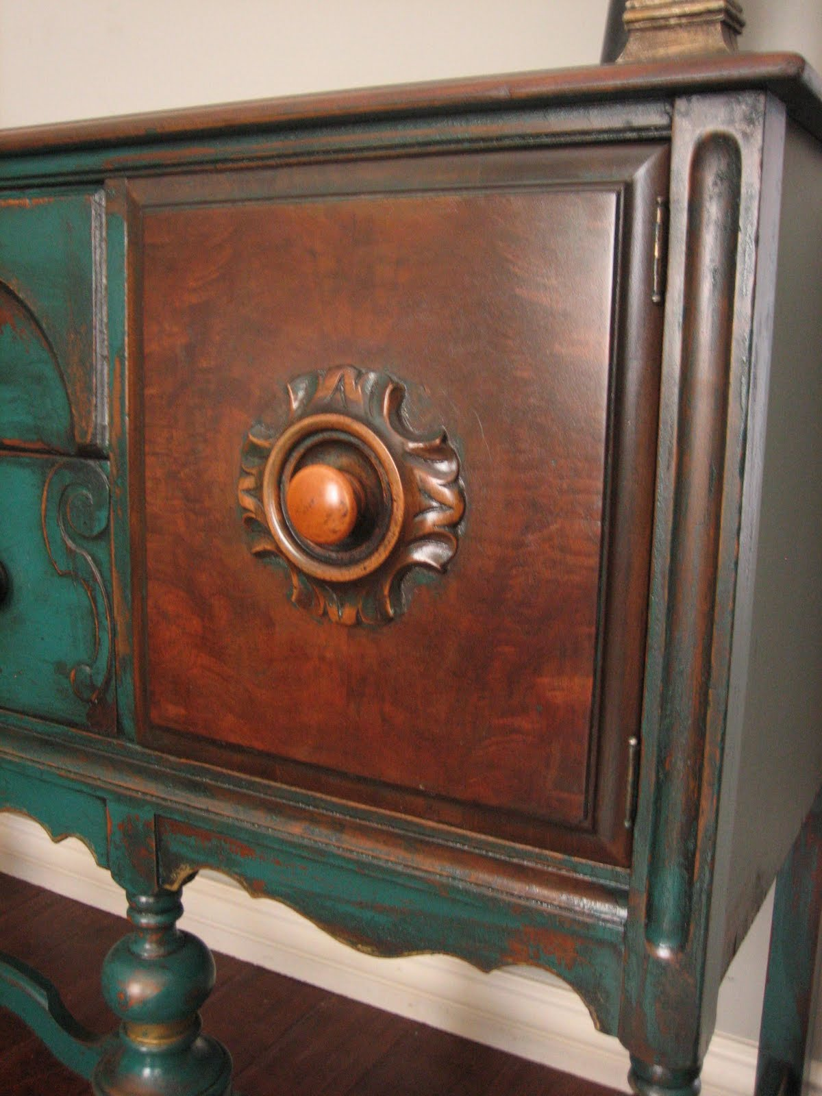 European Paint Finishes Peacock Green Sideboard