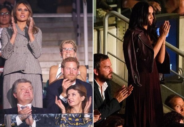 Prince Harry, Melania Trump and Justin Trudeau at Invictus Games. Meghan Markle wore Mackage Baya Leather Jacket and Aritzia Beaune Dress