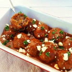 Greek-Style Meatballs scattered with Feta in a rich Tomato-Beef sauce