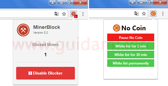 Estensioni Chrome MinerBlock e No Coin