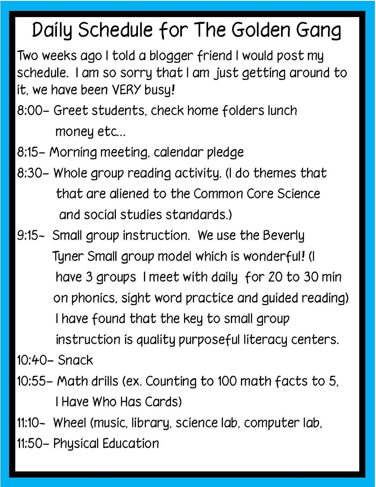 Golden Gang Kindergarten Daily Schedule
