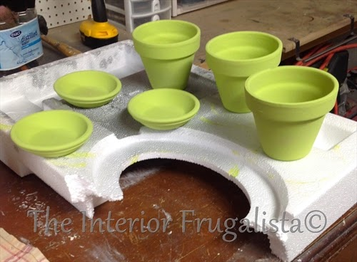 Spring Plant Pots Painted Apple Green
