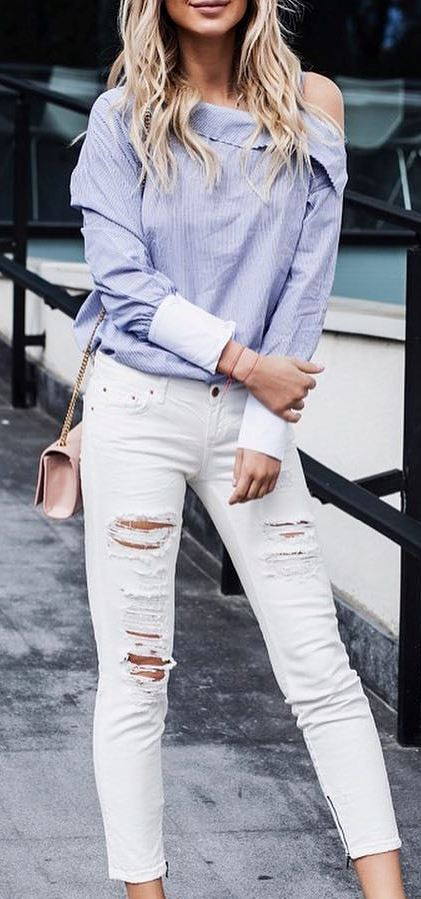 fashion trends outfit: shirt + white ripped jeans + bag