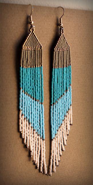 купить длинные серьги из бисера с бахромой где купить украшения из бисера