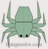 Bước 26: Vẽ mắt để hoàn thành cách xếp con Nhện bằng giấy theo phong cách origami.