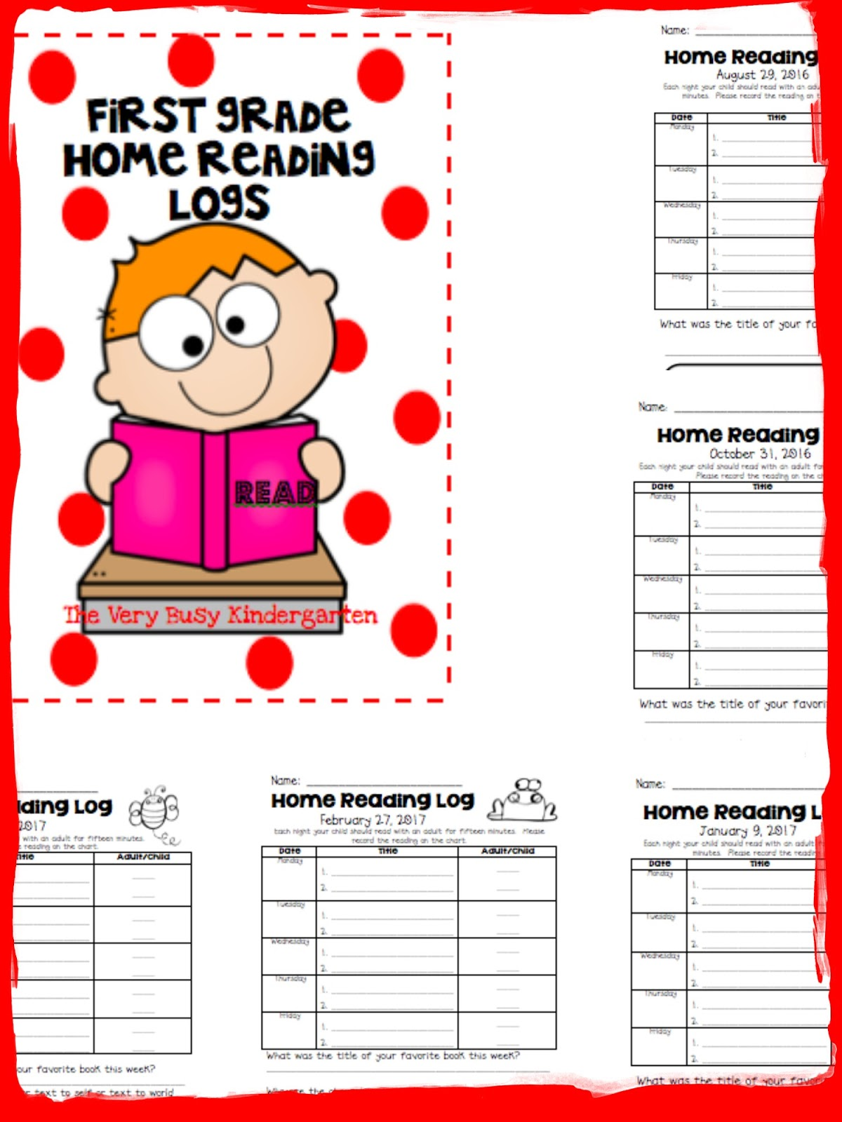 The Very Busy Kindergarten Home Reading Logs Or No More