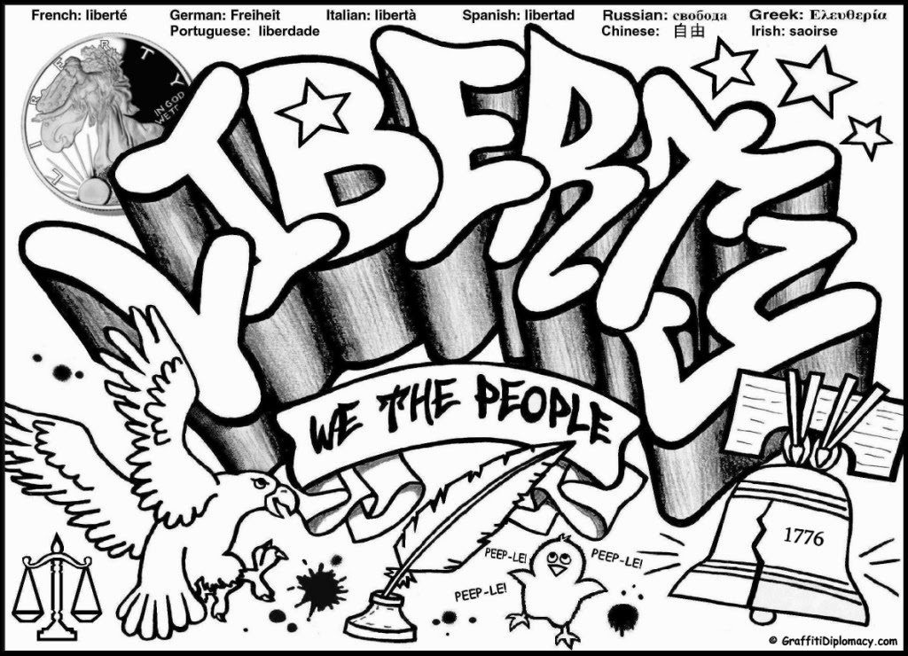Graffiti Wall: Graffiti Words coloring pages For Teenagers