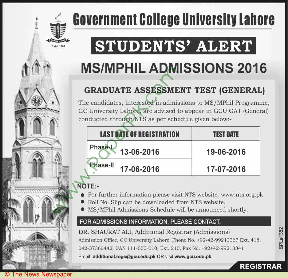 Government College University Lahore Admissions