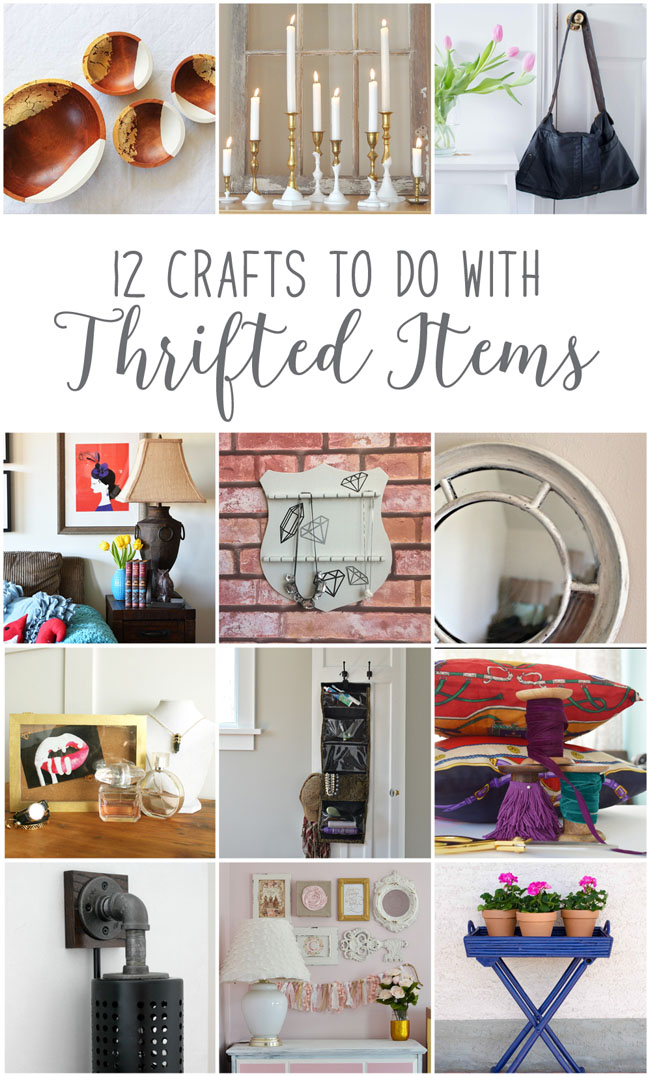 12 Crafts to Do With Thrifted Items - from Diy, home and lifestyle bloggers. Beautiful projects for your home and personal style! #home #decor #thrifting #diy #decorating #lamps #mirrors #bowls