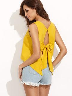 haut she in jaune noeud joli dos