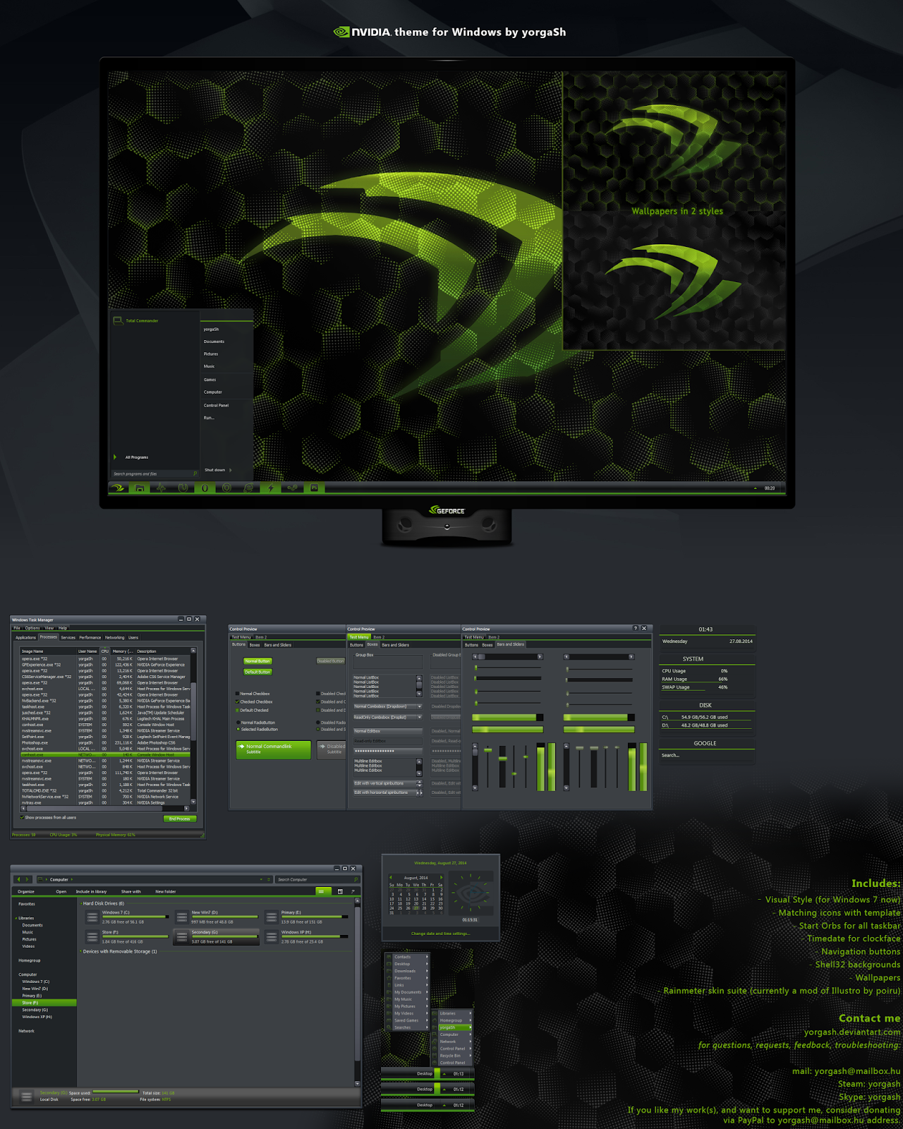 Windows Xp Theme File Software: NVidia Theme (+Icon, Rain) For Windows 7