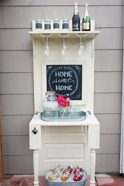 15 Brilliant DIY Ways To Upcycle Your Door - Drink StationBar
