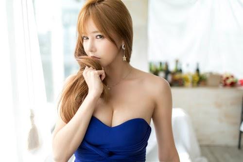 Han Ga Eun in blue dress hot HD wallpaper