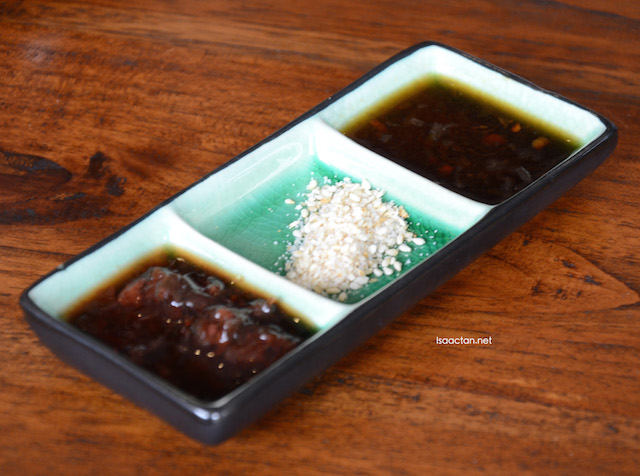Interesting sauces and condiments to go with your meal at Ri-Yakitori