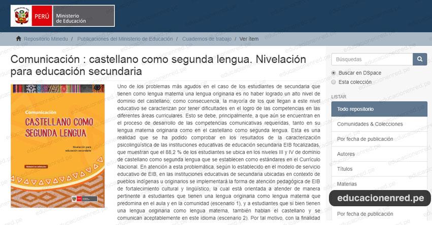 MINEDU: COMUNICACIÓN - Castellano como segunda lengua - Nivelación para educación secundaria (.PDF) www.minedu.gob.pe