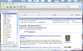 Image shows the main page of Eml Viewer Pro software, with emails in a list.