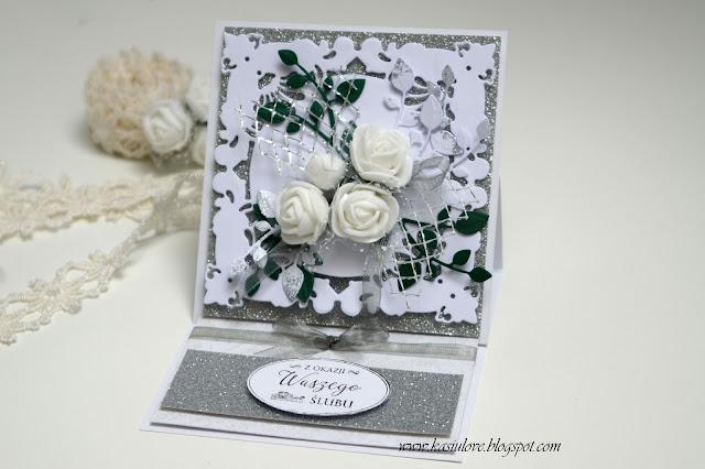 brokatowa kartka z życzeniami na ślub